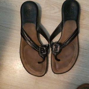 Cole Hasn't Black Leather Sandals